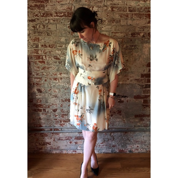 ab625dd2aa5bd Rare Anna Sui for Anthro Silk Jonquil Sky Dress